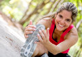 Happy woman exercising Stock Photo