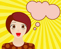 Happy woman face with open mouth. Manga style. Comic girl with speech bubble for your text. Royalty Free Stock Photo