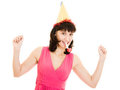 Happy Woman in a festive hat and red dress Royalty Free Stock Photo