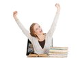 Happy woman finished preparing to exam Royalty Free Stock Photos