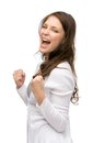 Happy woman fists gesturing half length portrait of isolated on white concept of success and victory Royalty Free Stock Photography