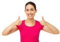 Happy woman gesturing thumbs up with both hands portrait of over white background horizontal shot Royalty Free Stock Photos