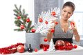 Happy woman getting ready for christmas Royalty Free Stock Photo
