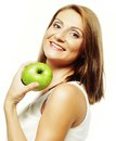 Happy woman with green apple isolated on white Royalty Free Stock Photo