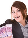 Happy woman with group of money. Royalty Free Stock Photo