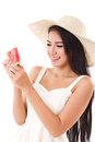 Happy woman hand holding watermelon, summer time Royalty Free Stock Photo