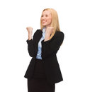 Happy woman with hands up picture of young Royalty Free Stock Image