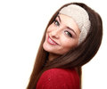Happy woman in headband looking isolated Stock Image