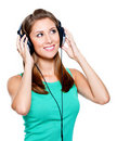 Happy woman with headphones Stock Photos