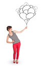 Happy woman holding balloons drawing Stock Photos