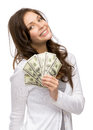 Happy woman holding cash half length portrait of handing isolated on white concept of wealth and income Stock Photography