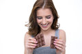 Happy woman holding chocolate bar Royalty Free Stock Photo