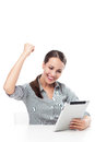Happy woman holding digital tablet smiling Royalty Free Stock Photography