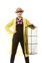 Happy woman holding empty fishing keepnet