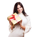 Happy woman holding gift box Stock Images