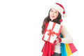 Happy woman holding gifts box and shopping bag Royalty Free Stock Photo