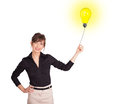 Happy woman holding a light bulb balloon young Royalty Free Stock Image