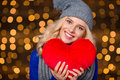 Happy Woman Holding Red Heart ...