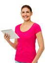 Happy woman holding tablet computer portrait of young over white background vertical shot Stock Image