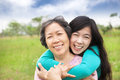 Happy woman hugging with her mother young asian women Stock Photos