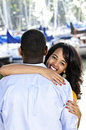 Happy woman hugging man Royalty Free Stock Photography