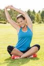 Happy woman jogger training in the park. Healthy lifestyle and p Royalty Free Stock Images