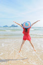 Happy woman Jump on the beach in Krabi Thailand Stock Image