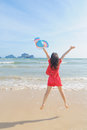 Happy woman Jump on the beach in Krabi Thailand Stock Images