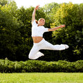 Happy woman jumping free dancer freedom concept Royalty Free Stock Image