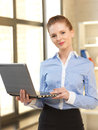 Happy woman with laptop computer bright picture of Royalty Free Stock Photo
