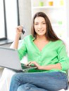 Happy woman with laptop computer and credit card picture of Royalty Free Stock Image