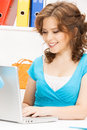 Happy woman with laptop computer picture of Royalty Free Stock Photo