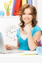 Happy woman with laptop computer picture of Royalty Free Stock Image