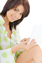 Happy woman with laptop computer picture of Royalty Free Stock Images