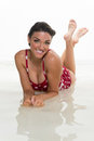 Happy woman laugh in swimsuit Stock Photos