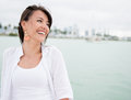 Happy woman laughing casual and having fun Royalty Free Stock Photography