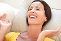 Happy woman laughing with eyes closed Royalty Free Stock Photo
