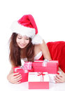 Happy woman looking christmas gift Royalty Free Stock Image