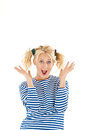 Happy woman making a funny face over white background Royalty Free Stock Photo