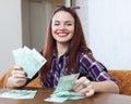 Happy woman with many euro Royalty Free Stock Photo