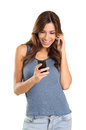 Happy woman on mobile phone Royalty Free Stock Photos