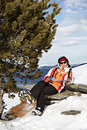 Happy woman on mountains ski resort alps austria Stock Photos