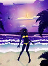 Happy woman on night beach silhouette in yellow bikini tropical at time Stock Images