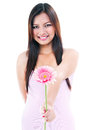 Happy Woman Offering Flower Stock Photos