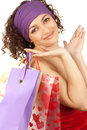 Happy woman with  packages Royalty Free Stock Images