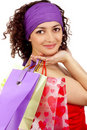 Happy woman with  packages Stock Photography