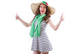 Happy woman in panama and green scarf isolated on Royalty Free Stock Photo