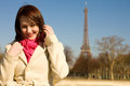 Happy woman in Paris at sunny spring day Royalty Free Stock Image