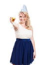 Happy woman partying with glass of alcohol proposing a toast champagne isolated on white background Royalty Free Stock Images