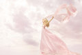 Happy Woman in Pink Long Dress, Girl Flying Silk Scarf Cloth Royalty Free Stock Photo